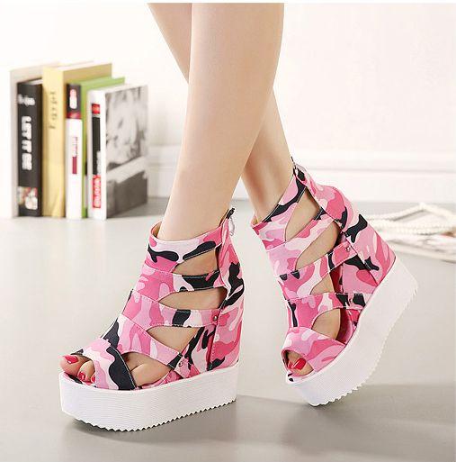 Ladies Camouflage High Wedge Heel Platform Sandals Height