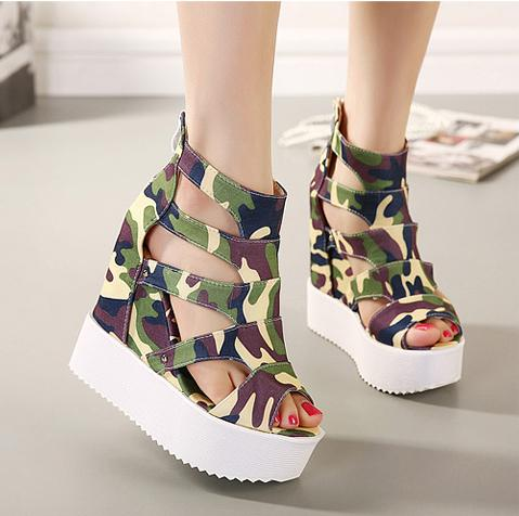 Hot Sale New Ladies Camouflage High Wedge Heel Platform Sandals ...