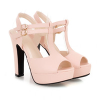 Wholesale High Heel Sandals Sexy Strappy - plus size women summer sandals sexy high heel T strappy peep toe platform sandals shoes comfortable heels 3 colors size 32 33 34 to 41 42 43