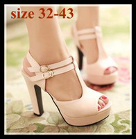 Wholesale Platform Size 32 - plus size sexy high heel summer sandals T strappy peep toe high platform sandals shoes comfortable heels 3 colors size 32 33 34 to 41 42 43