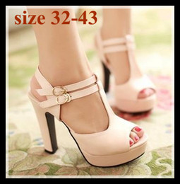 Wholesale High Heels Size 32 - plus size sexy high heel summer sandals T strappy peep toe high platform sandals shoes comfortable heels 3 colors size 32 33 34 to 41 42 43