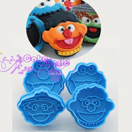 Wholesale Decorating Plunger - 4pcs 3D Stamp ELMO Fondant Cake Cupcake Decorating Cookie Biscuit Plunger Cutter Mold Kitchen Tools