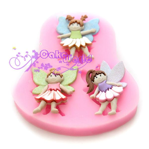 3 Baby Angel Girl fondant cake decorating tool silicone soap modelling mold cooking chocolate Jelly Candy craft paste mould