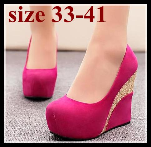 Blue Hot Pink wedding shoes high platform wedge heels bride shoes extra plus size women shoes small size 33 34 to EU 40 41