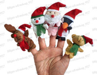 Wholesale Storyteller Toy For Kids - Christmas Famliy&Santa Finger Puppets Set of 5piece,Plush Toys Stuffed Doll For Kids Babies Storyteller Talking Props