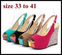 ingrosso sandali blu più il formato-caramelle di colore peep toe schienale in tela sandali con zeppa piattaforma Rosa Blu più scarpe da sposa delle donne di formato formato sexy scarpe estive 40 da 41 a 33 di piccole dimensioni