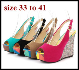 pink color women shoes wedges Australia - candy color peep toe sling back platform wedge sandals Pink Blue plus size wedding shoes sexy women summer shoes size 40 41 to small size 33