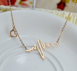 $enCountryForm.capitalKeyWord NZ - ECG Heart Beat Necklace Heartbeat rhythm with dangling heart Rose gold Factory Outlet