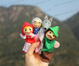 Wholesale Wooden Doll Set - retail little red riding hood finger puppets a set of 4 plush wooden doll mother tell baby story