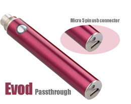Wholesale New T2 - 2014 New arrival EVOD USB Battery EVOD USB Passthrough Battery with 5 Pin USB Charger Cable fit MT3 T2 CE4 DCT EE2 EVOD GS H2 E Cig Atomizer
