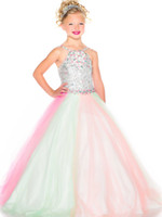 Bright Rainbow Tulle Straps Beads Flower Girl Dresses Girls'...