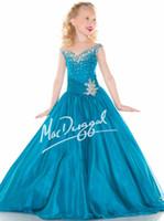 Bright Rose Blue Chiffon V- Neck Beads Flower Girl Dresses Gi...