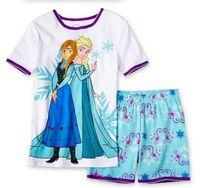 Wholesale Short Sleeved Pyjamas - children clothing girls boy elsa and anna short sleeved sleeve winter pajamas pyjamas sleepwear 5p l