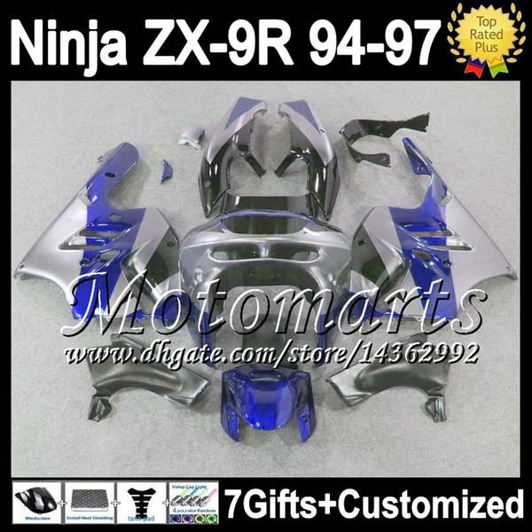 7gifts+Body For KAWASAKI NINJA Blue grey ZX-9R 94-97 M15116 ZX9R 1994 1995 1996 1997 ZX 9R 9 R Silvery grey 94 95 96 97 Customize Fairing