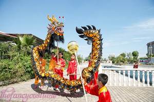 Wholesale D m size kid black golden plated CHINESE DRAGON DANCE Folk Festival Celebration Costume