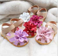 Wholesale Big Bottoms Girl - Summer children sandals for girl 3D big flower cowhells bottom pu fabric girls princess shoes 1-3Year baby sandals shoes 10pcs=5pair