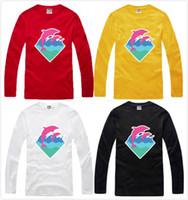 golfinho cor-de-rosa livre venda por atacado-Frete grátis 2015 manga longa rosa golfinho camisa hip hop camisetas 100% algodão 6 cor