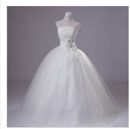 Wholesale Strapless Stain Tulle Ball Gown - Free shipping 2014 new arrival white fashion ball gown strapless beaded floor-length Tulle stain wedding dress with bow