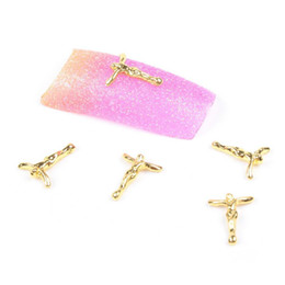 Wholesale 3d Cross Nail Art - Wholesale-2014 New Fashion 20 Pieces 3D Beauty Gold Cross Nail Art Slices Glitters DIY Decorations
