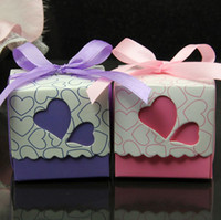 Wholesale Track Ribbons Free Shipping - 200pcs lot Ribbons Included Wedding Favor Candy Boxes Pink and Purple Colours Wedding Party Gift Box free shipping with tracking number 317