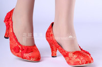Wholesale Chinese Wedges Shoes - Chinese cheongsam wedding shoes, bridal shoes waterproof shoes wedding shoes big red lace satin wedding shoes bridesmaid shoes