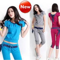 Wholesale Woman Korean Short Pants - 2014 summer new women short-sleeved cotton pant suit Korean version of Slim version of casual sportswear suit tracksuit