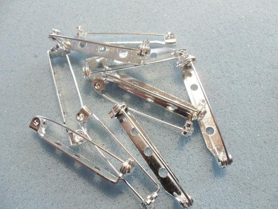 Spille da balia con spilla da 200 pezzi con chiusura di sicurezza a rullo 32mm placcato argento - spilla con fibbia sul retro