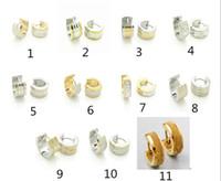 Wholesale Mix Order Stainless Steel Earrings - Steel Men's Women's Hoop Earrings Fashion Jewelry Mix order 20pcs 10pairs Stainless Steel Silver Gold Earrings
