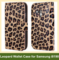 Wholesale Leopard S3 - Wholesale Lovely Leopard Print PU Leather Wallet Flip Cover Case for Samsung Galaxy SIII S3 Mini i8190 Free Shipping