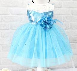 Wholesale Silk Sequin Dresses Wholesale - Frozen Elsa PROM dress gauze lace dresses baby girl kids children's special occasions party sequins flower A shape dress clothing blue