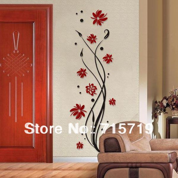 Marvelous NEW 2014 Style 3D Best Acrylic Pant Wall Art Sticker Decor Crystal Living  Room Tv Wall Flower Romantic Personality Wall Stickers Ideas