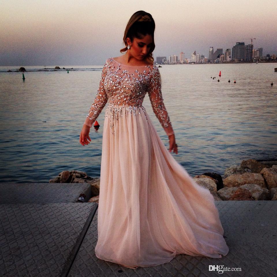 2020 Muhteşem Kristal Boncuklu Gelinlik Modelleri Şeffaf Scoop Boyun Uzun Kollu A-Line Floor-Boy Şifon Abiye Giyim Pageant Elbise