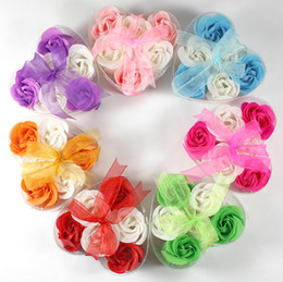 Wholesale Dance Bags For Wholesale - High Quality Mix Colors Heart-Shaped Rose Soap Flower For Romantic Bath Soap And Gift (6pcs=one box) hand made 100% natural material