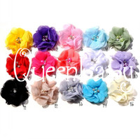 Wholesale Shabby Rhinestone - New Chiffon Flowers Hair Flowers Two Pearl Two Rhinestone Shabby Flower Newborn Photography Props 55pcs lot QueenBaby