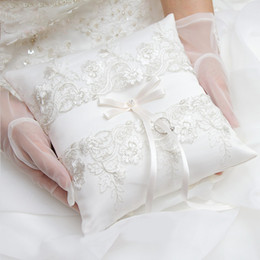 Wholesale Floral Ring Pillow - Free Shipping Lace Floral Bow Satin Ring Bearer Ring Pillow Special Wedding Ceremony Accessory Unique Bridal Ring Bearer Pillow