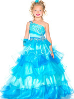 Pretty Pink Blue One- Shoulder Beads Flower Girl Dresses Girl...