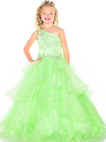 Pretty Blue Green Organza One- Shoulder Beads Flower Girl Dre...