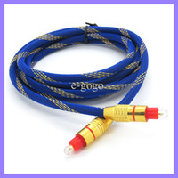 Azul 2M 6FT oro plateado fibra óptica óptica digital TOSLINK cable de audio digital cable de línea de cable conectar para SPDIF DVD CD MD