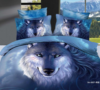 Wholesale Wolf Quilt Cover King Size - 3D Wolf Bedding Sets Queen King Size 100% Cotton Fabric 4 pcs Quilt Duvet Cover YKK Zipper Closure Fitted Flat Bed Sheet Large Pillow Cases