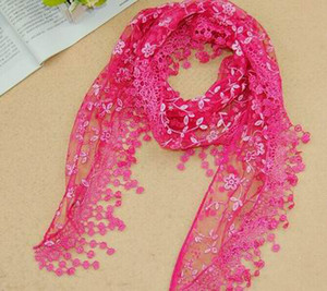 Wholesale scarf roses resale online - 2015 New Fashion Scarf Women Embroidery Rose Lace Triangle Pendant Shawls Scarves wrap Colors Hot Sale
