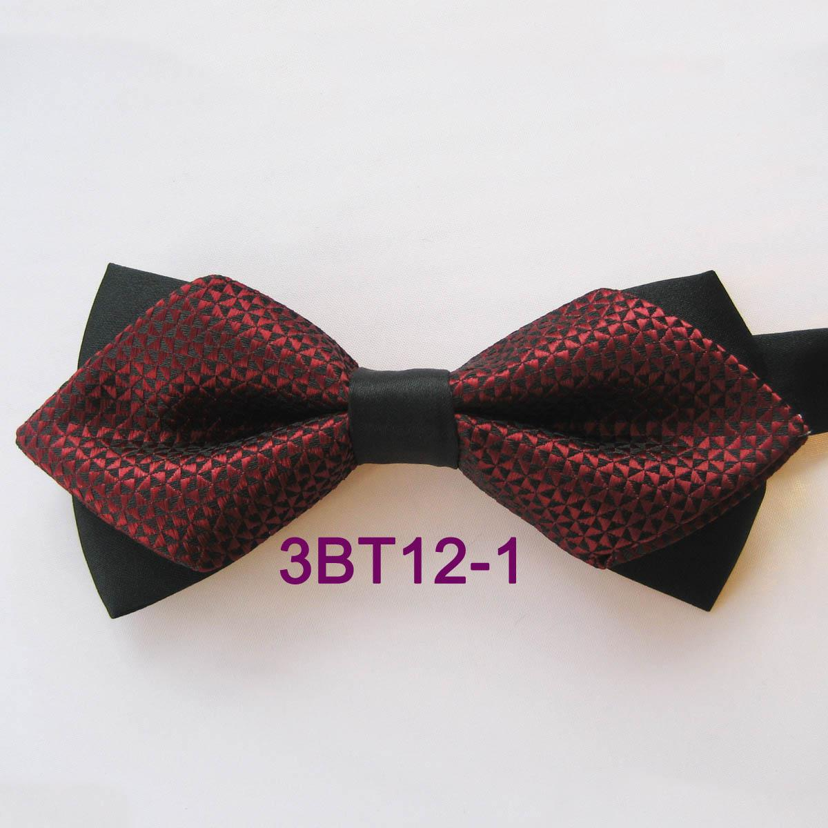New Men/'s Two Tones Pre-tied Bow Tie /& Hankie Set Burgundy Black formal
