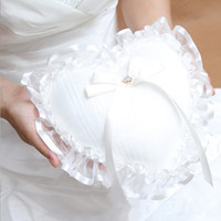 Wholesale Heart Shaped Lace Ring Pillow - Free Shipping Heart-shaped With Lace Purl Rhinestone Satin Ring Bearer Ring Pillow Wedding Ceremony Accessory Bridal Ring Bearer Pillow