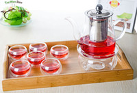 Wholesale Double Layer Tray - 9in1 Kung fu Coffee Tea Set E- 650ml Pyrex Glass Tea Pot w  Stainless Steel Infuser +Round Warmer +6* Double Wall Layer Cup Mug+ Handle Tray