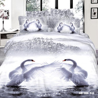 Wholesale Swan Duvet - 3D Whooper Swan Bedding Sets Queen King Size 100% Cotton Fabric 4 pcs Quilt Duvet Cover Fitted Flat Sheet Pillow Cases Reactive Printing