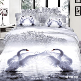 Wholesale Comforter Sets Swan - 3D Whooper Swan Bedding Sets Queen King Size 100% Cotton Fabric 4 pcs Quilt Duvet Cover Fitted Flat Sheet Pillow Cases Reactive Printing