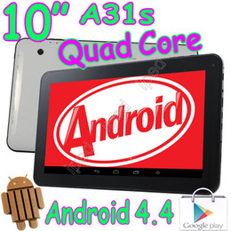 Wholesale A31s Free Shipping - 10 Inch Quad Core Allwinner A31S Android 4.4 KitKat Tablet PC Capacitive Touch 1GB RAM HDMI Bluetooth Wifi Dual Webcam MID DHL Free Shipping