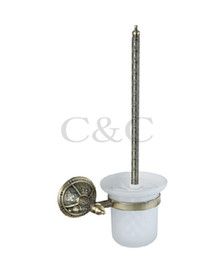 Wholesale Brass Toilet Brush - Noble And Elegant Solid Brass And Glass Antique Plating Bathroom Toilet Brush Holder 1113
