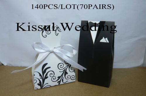 Popular wedding favour boxes Bride and Groom Wedding box with cutted ribbon for wedding candy box 140pcs/lot(70pairs) Free shipping