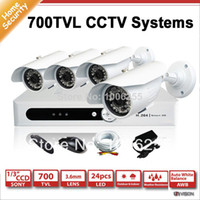 Atacado-Home Security 4CH D1 DVR Package, 4 pcs700TVL IR câmera de bala CCTV, 1X 4CH D1 DVR com HDMI, 4 pcs cabo 18M