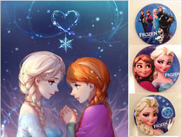 Wholesale China Wholesale Clothing For Children - Frozen Elsa Anna Brooches Pins Cartoon Party Badge Round Pin For Children Clip on clothing Scarf Bag